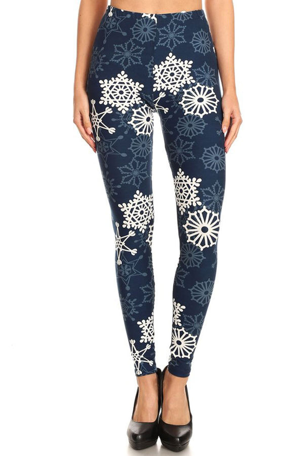Women's Regular B&W Crochet Flower in Navy Pattern Printed Leggings