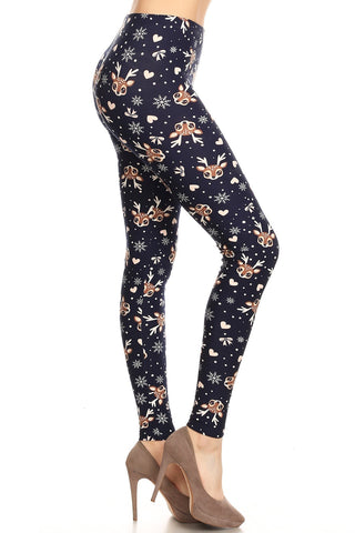 Women's Plus Reindeer Snowflake Heart Pattern Printed Leggings