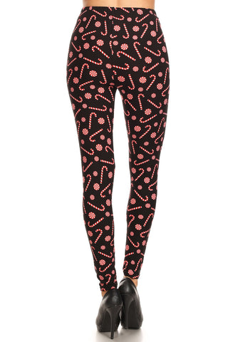 Women's 3X 5X Candy Cane Holiday Pattern Printed Leggings