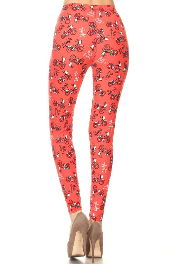 Women's 3X 5X Bicycle in Coral Lifestyle Pattern Print Leggings
