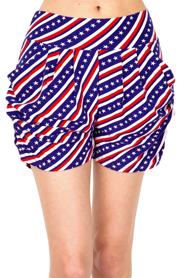 Women's Regular American Flag Diagonal Printed Pleated Pockets Harem Shorts