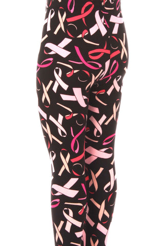 Kid's Colorful Breast Cancer Awareness Ribbon Pattern Printed Leggings