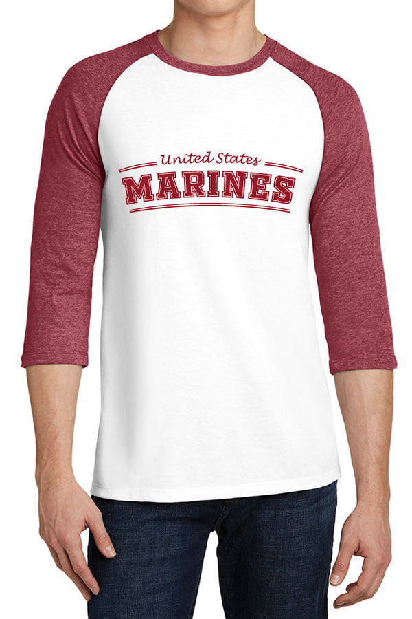 Marine with Red Text- 3/4-Sleeve Raglan Fitted Baseball Tees for Young Men - XS ~ 4XL
