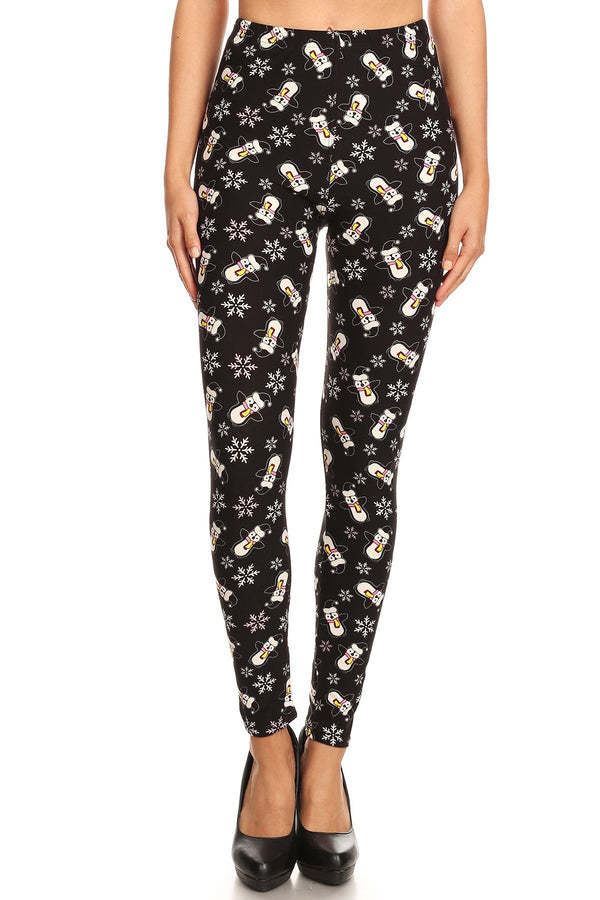 Women's 3X 5X Penguin Snowman Snowflake Pattern Printed Leggings