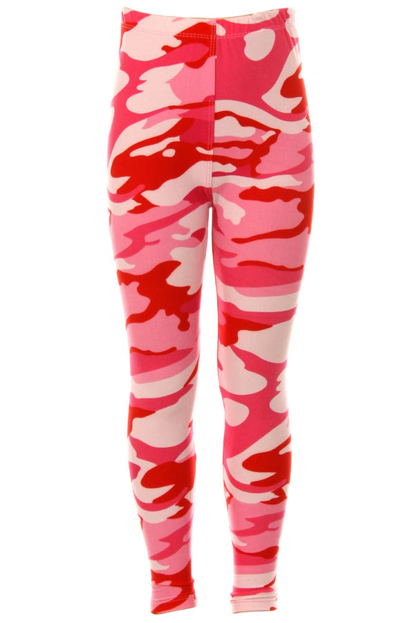 Kid's Pink Camouflage Army Pattern Printed Leggings