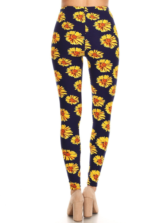 Women's Plus Yellow Big Sunflower Pattern Print Leggings