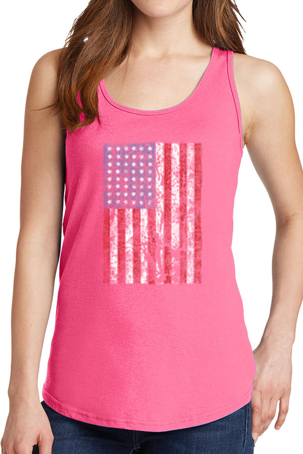 Women's Distressed American Flag Core Cotton Tank Tops -XS~4XL