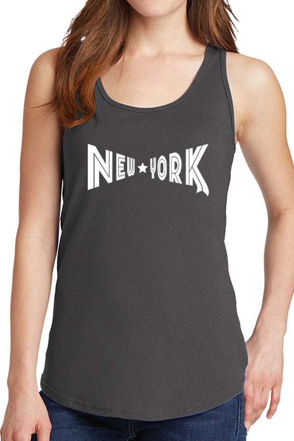 Women's New York with Star Design Core Cotton Tank Tops -XS~4XL
