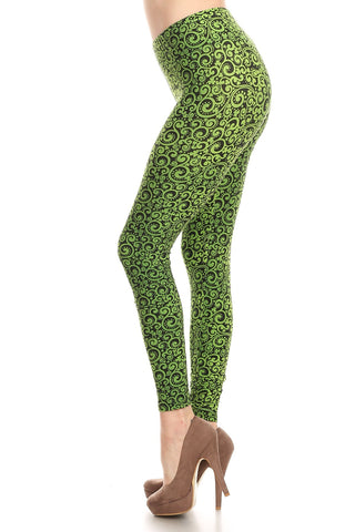 Women's Plus Green Paisley Pattern Printed Leggings