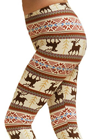 ED Seasonal Holiday One Size Print Leggings - Beige Reindeer for Regular