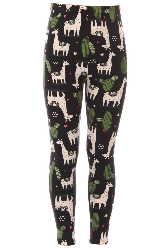 e958c3ef87114 Kid's White Giraffe Green Cactus Pattern Printed Leggings | iZZYZX ...