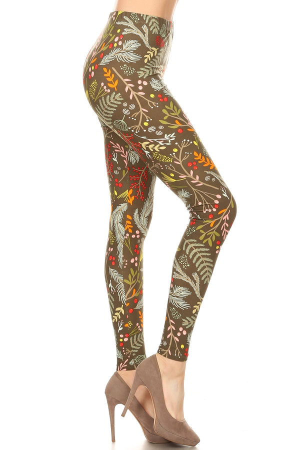 Women's 3X 5X Foliage Autumn Leaf Harvest Pattern Print Leggings