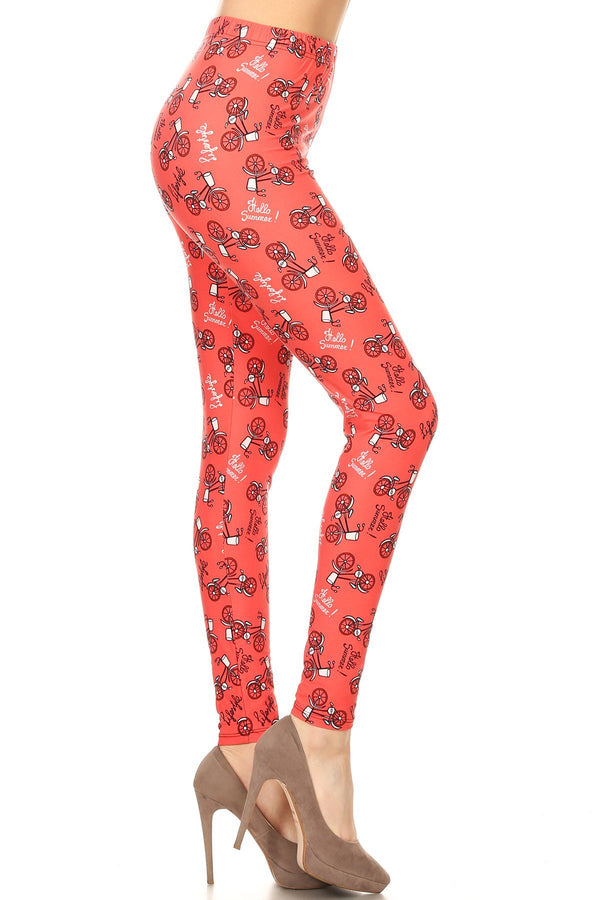 Women's Plus Bicycle in Coral Lifestyle Pattern Printed Leggings