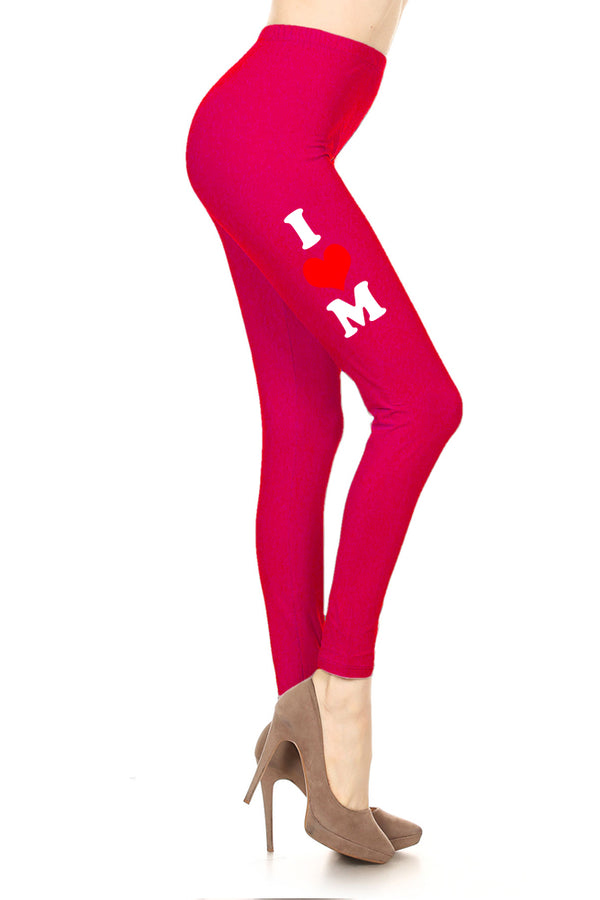 Women's Mother's Day I Heart Mom Design Printed Leggings for Regular Plus 3X5X