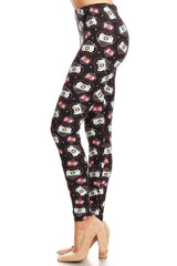 Women's Plus Camera with Hearts Pattern Printed Leggings