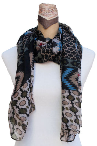 One Size Multi Aztec Pattern Two Toned Scarf