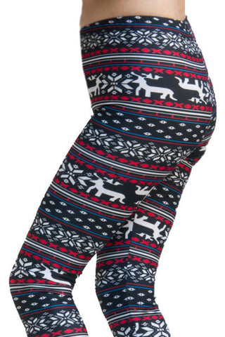 Women's Plus Blue Reindeer Fair Isle Design Printed Leggings