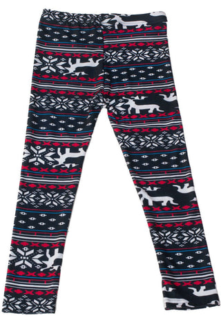 Girl's Colorful Reindeer Fair Isle Design Printed Leggings