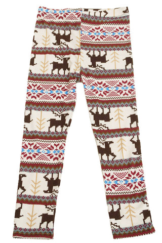 Girl's Colorful Holiday Reindeer Diamond Design Printed Leggings