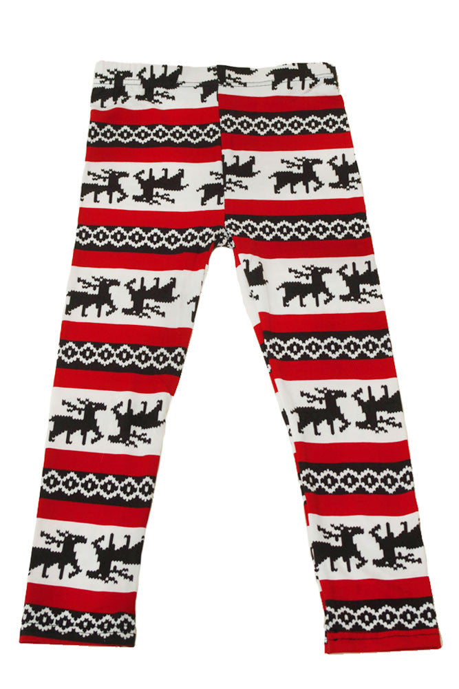 Girl's Colorful Holiday Red Reindeer Design Printed Leggings