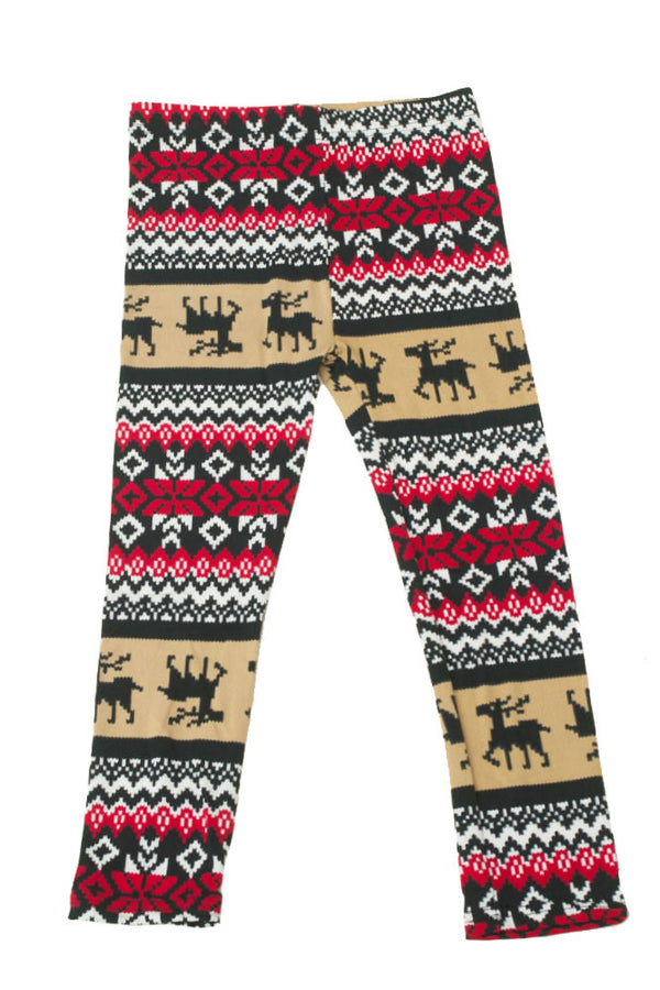 Girl's Colorful Holiday Mocha Reindeer Design Printed Leggings