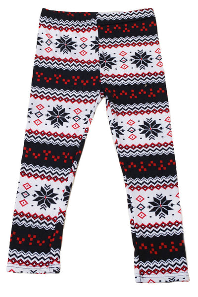 Girl's Colorful Holiday Snowflakes Design Printed Leggings