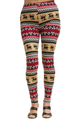 Women's Regular Colorful Holiday Mocha Reindeer Design Printed Leggings