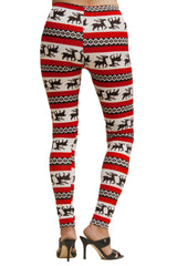 Women's Plus Colorful Holiday Red Reindeer Design Printed Leggings