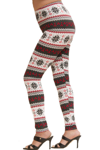 Women's Plus Colorful Holiday White Snowflake Diamond Design Printed Leggings