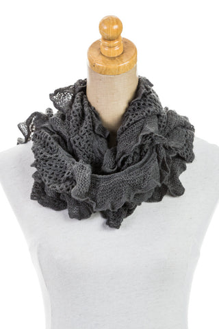 Women's One Size Ruffle Knit Scarf