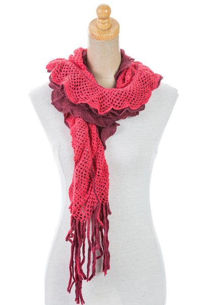 Women's One Size Plain Lace Ruffled Scarf