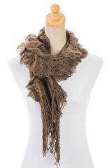 Women's One Size Long Plain Laced Scarf