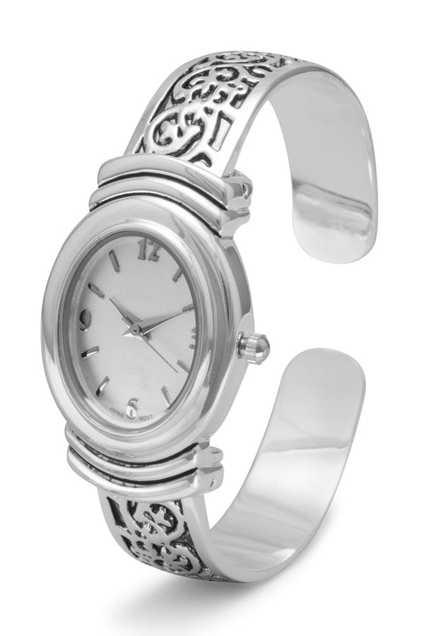 Women's Oxidized Scroll Design Hinged & White Dial Fashion Cuff Watch
