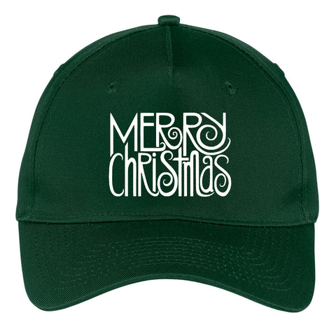 Merry Christmas Graphic Printed 5 Panel Twill Caps
