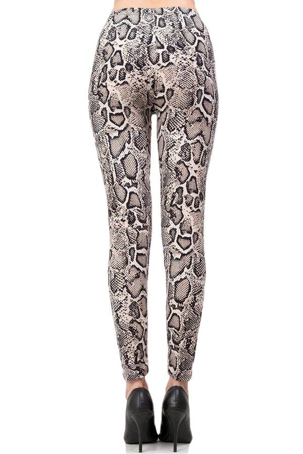 Women's XPlus Snake Skin Animal Pattern Printed Leggings