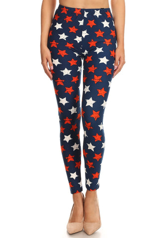 Women's Regular 4th of July Stars Distressed Pattern Printed Leggings