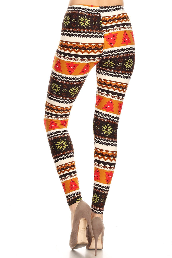 Women's Plus Colorful Fair Isle Snowflake Tree Pattern Printed Leggings