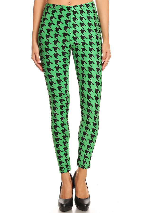 Women's Regular Green Houndstooth Pattern Printed Leggings