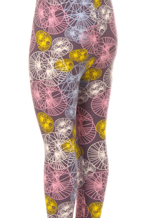 Kid's Colorful Circle & Line Pattern Printed Leggings