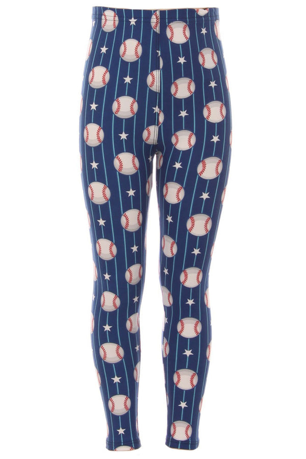 Kid's Colorful Baseball Stars Pattern Printed Leggings