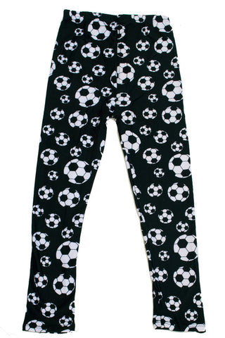 Kid's B&W Soccer Ball Sports Pattern Printed Leggings