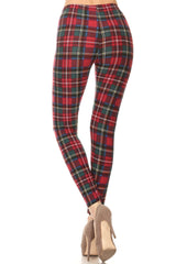 Women's Plus Burgundy Green Plaid Pattern Printed Leggings