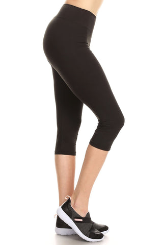 Women Plus Solid Buttery Soft Yoga Fitness Cropped Capri Leggings