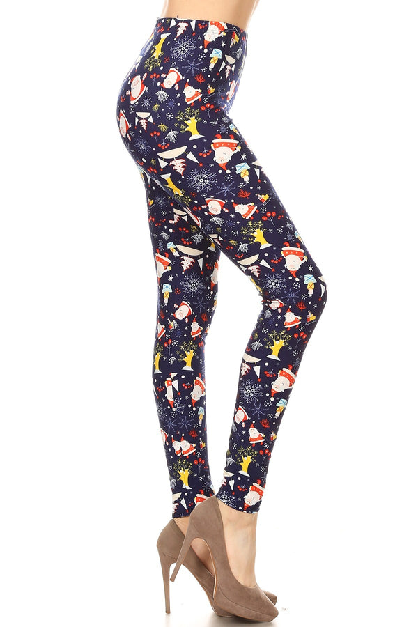 Women's Plus Colorful Christmas Theme Pattern Printed Leggings