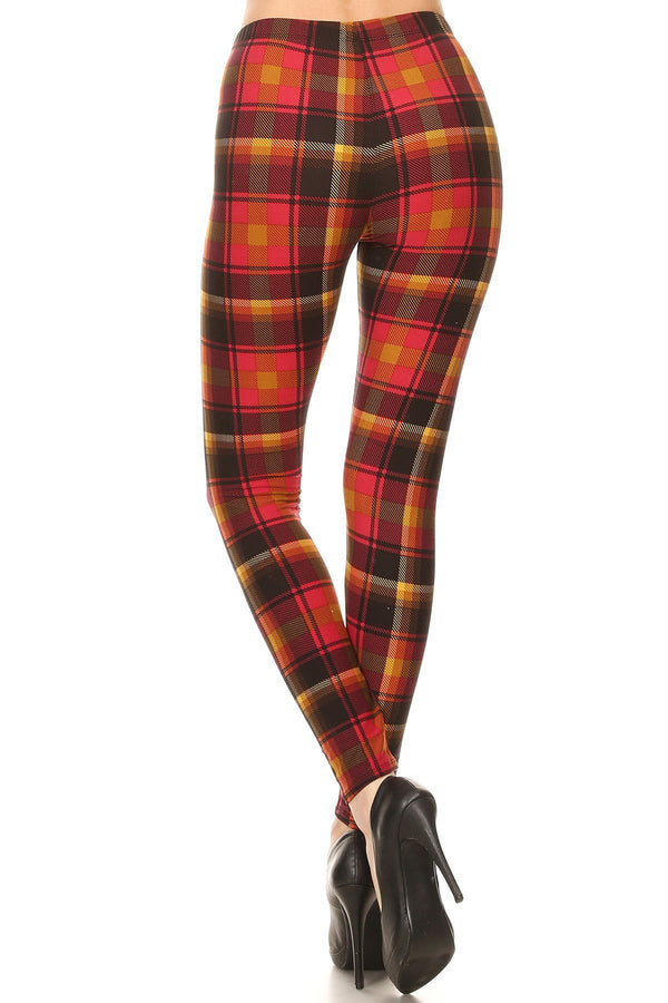 Women's 3 X 5X Red Mustard Plaid Pattern Printed Leggings