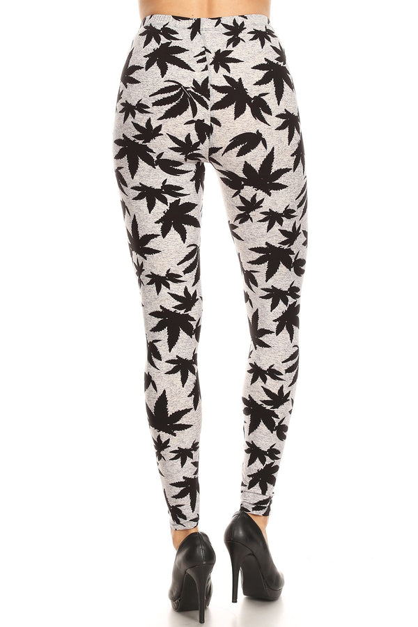 Women's 3X 5X Allover Grey Black Cannabis Leaf Plant Pattern Print Leggings