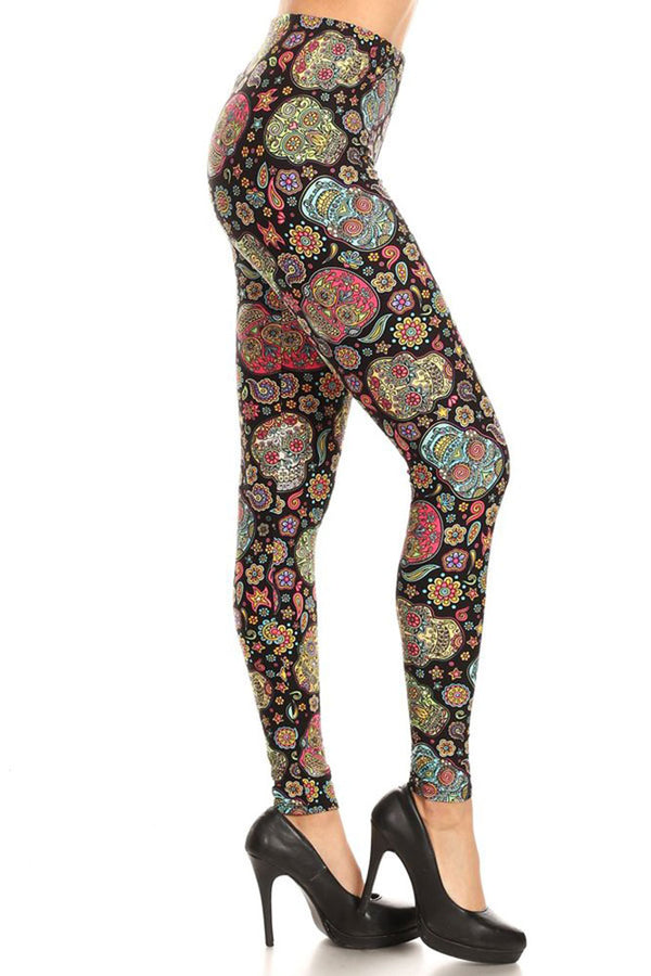 Women's Plus Colorful Sugar Skulls Flower Pattern Printed Leggings