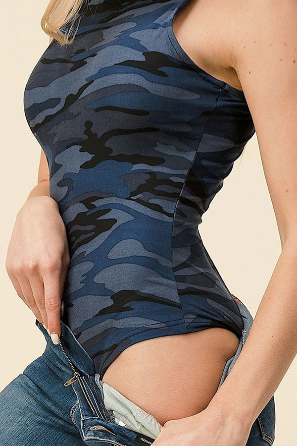 Women's Regular Blue Camo Print Bodysuit