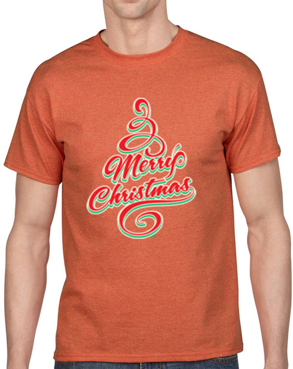 Merry Christmas Tree Heavy Cotton Classic Fit Round Neck Short Sleeve T-Shirts
