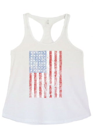 Women's American Flag Distressed Vertical Graphic Print Polyester Tank Tops for Regular and PLUS - Small ~ 3XL